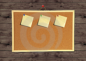Cork Bulletin Board On Wood Wall Stock Photography - Image: 16090892