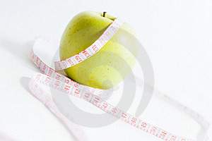 Green Apple And Measure Tape, Dieting Theme Royalty Free Stock Photography - Image: 16090967