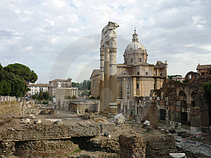 Roman Forum With Church Stock Photo - Image: 16097340