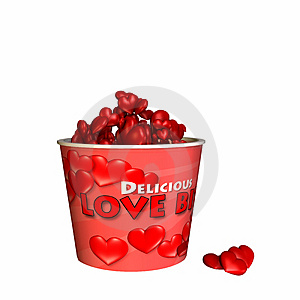 Bucket Of Love Bites - Bite Sized Hearts Stock Image - Image: 1610351