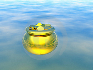 Gold pot with gold. 3D Royalty Free Stock Image