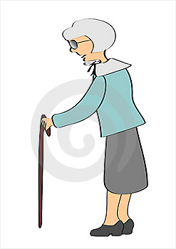 Grandmother With The Help Of With The Walking Stock Image - Image: 16100161