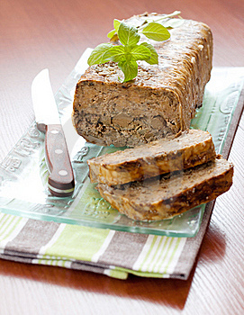Meat Roll With Basil Leaves Stock Images - Image: 16102404