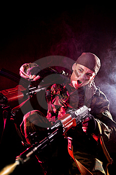 Screaming Soldier Shooting His Enemies Royalty Free Stock Image - Image: 16113986