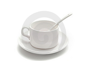 White Coffee Cup With A Spoon On The Saucer Stock Photo - Image: 16114810
