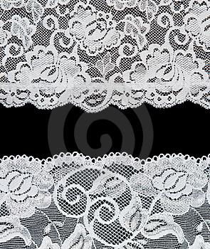 Decorative Lace With Pattern On Black Background Royalty Free Stock Photography - Image: 16125977