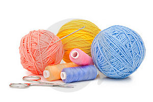 Ball Of Threads Isolated On White Background Stock Photos - Image: 16146783