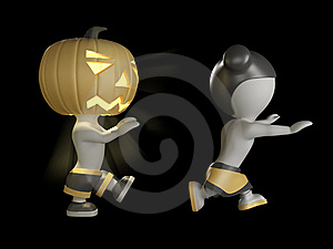 Halloween Boy And Girl. 3D Illustration. Stock Image - Image: 16149371