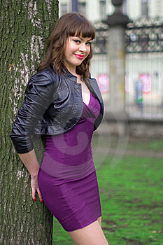 Sexy Girl In Violet Dress Stock Photos - Image: 16153063