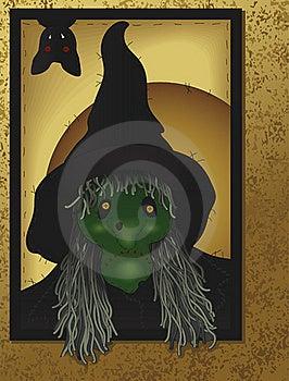 Folk Art Witch And Bat Royalty Free Stock Photo - Image: 16154345