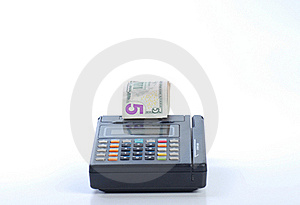 Cash On Credit Card Machine Royalty Free Stock Photography - Image: 16156407