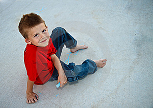 Cute Young Boy Playing With Sidewalk Chalk Royalty Free Stock Image - Image: 16157396
