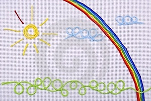 Drawing From Threads On An Outline Royalty Free Stock Photography - Image: 16158607