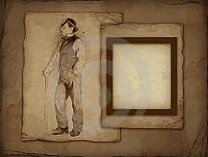 Old Photo Frame With Pencil Drawing Stock Photo - Image: 16159100