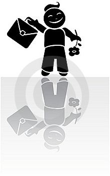 Vector Silhouette Of Schoolboy Royalty Free Stock Photo - Image: 16159615