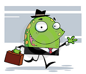 Friendly Toon Monster Businessman In A Black Suit Royalty Free Stock Photography - Image: 16160987