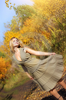 Girl Dances In The Autumn Forest Stock Image - Image: 16162831