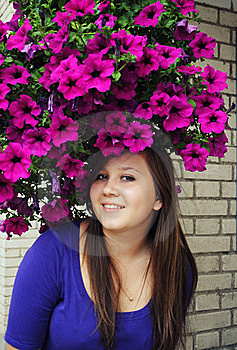 Beautiful Girl In Pretty Hat From Flowers Stock Image - Image: 16162941