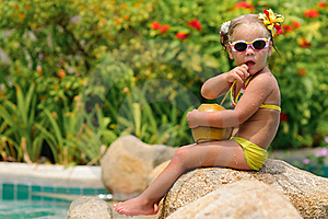 Portrait Of Cute Toddler Girl With Coconut Stock Photos - Image: 16163913