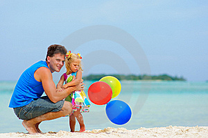 Father And His Cute Daughter On Exotic Beach Stock Photos - Image: 16163973
