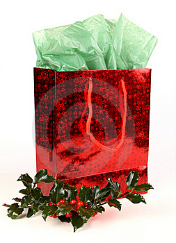 Red Christmas Gift Bag With Holly Royalty Free Stock Images - Image: 16164349
