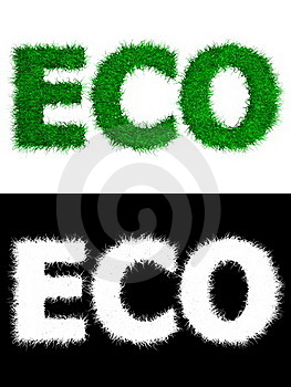Eco Made Of Grass - White Background Royalty Free Stock Photography - Image: 16169357