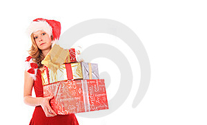 Miss Santa Is Losing One Gift Box - Rectangle Crop Royalty Free Stock Photo - Image: 16169455