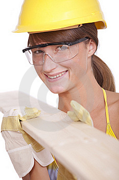 Female Worker With Wood Stock Photography - Image: 16170012