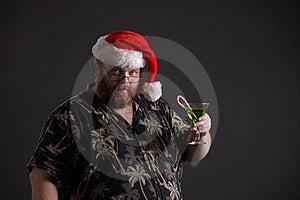 Obese Man In Santa Hat Stock Photo - Image: 16171170