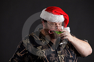 Obese Man In Santa Hat Royalty Free Stock Photo - Image: 16171195