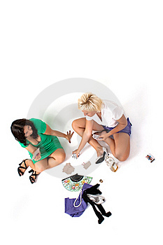 Pair Of Women Play Cards, Drink Alcohol Royalty Free Stock Photography - Image: 16174317