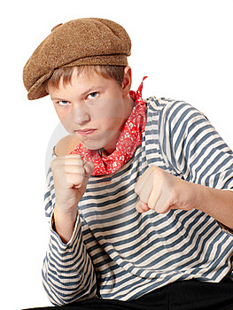 Ready To Fight Teenage Dressed In Seaman Shirt Royalty Free Stock Photo - Image: 16174695