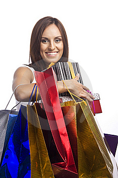 Pretty Young Woman With Packages Stock Photography - Image: 16175032