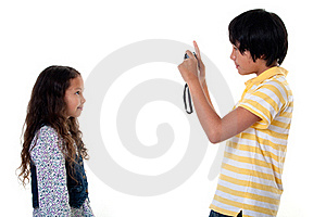 Children Take Photos Digital Stock Photo - Image: 16177510