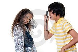 Children Take Photos Digital Stock Photo - Image: 16177520