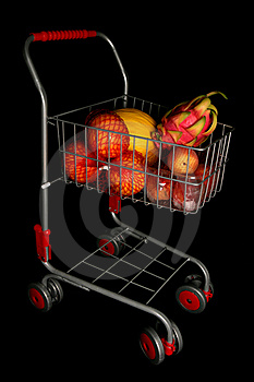 Shopping Trolley Full Of Fruit Stock Photography - Image: 16180682