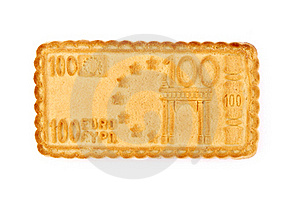 Biscuit In The Form Euro Isolated On White Royalty Free Stock Images - Image: 16181849