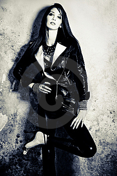 In Black Leather Royalty Free Stock Image - Image: 16182236