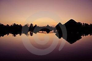 Sunrise At Villa Guamà Lagoon, Cuba Stock Image - Image: 16183191