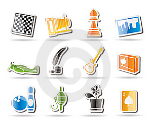 Simple Hobby, Leisure And Holiday Icons Royalty Free Stock Photos - Image: 16183388