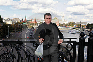 Man With Apples On Bridge. Moscow Stock Photography - Image: 16186012