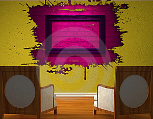 Two Luxurious Chairs Opposite Green Wall Stock Image - Image: 16186451