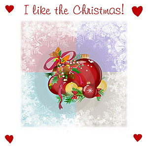 Very Kind Christmas Illsutration With Balls Royalty Free Stock Photography - Image: 16186657