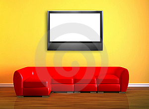Red Couch With LCD Tv Stock Photos - Image: 16186983