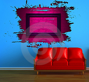 Red Couch And Pink Splash Hole Royalty Free Stock Photos - Image: 16187048