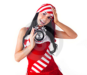 Girl With An Alarm Clock Stock Images - Image: 16190914