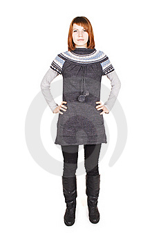 Girl In Knit Dress Standing, Hands On Hips Royalty Free Stock Images - Image: 16191229