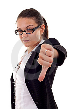 Woman Gesturing Thumbs Down Stock Photos - Image: 16192953