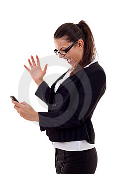 Woman Shouting To A Phone Royalty Free Stock Photo - Image: 16193075