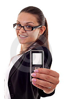 Woman Presenting A Mobile Phone Royalty Free Stock Photos - Image: 16193088